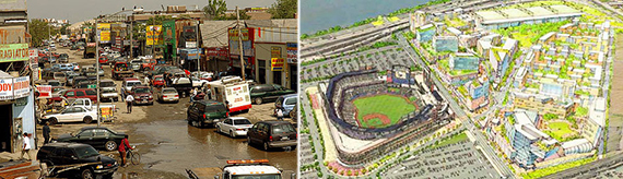 From left: Body shops in Willets Point and a rendering of the Willets Point redevelopment