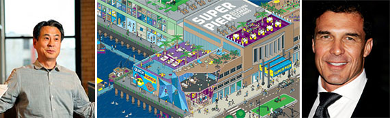From left: Young Woo, a rendering of SuperPier (Credit: Pandiscio Co. / QuickHoney) and Andre Balazs