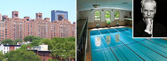 London Terrace, the swimming pool and Tim Gunn(inset)