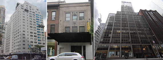 From left: 1131 Third Avenue, 410 West 14th Street and 555 Madison Avenue