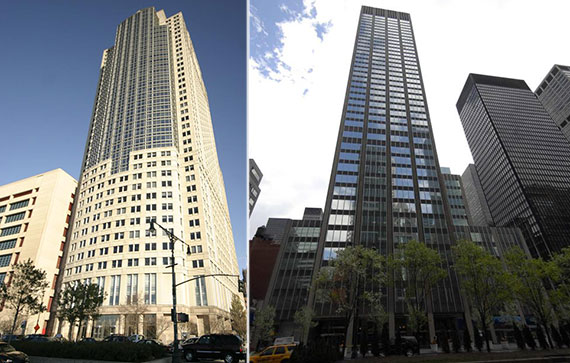 From left: 388-390 Greenwich Street and 399 Park Avenue, Citigroup's current HQ