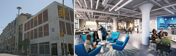 From left: 630 Flushing Avenue and a rendering of the interior design space
