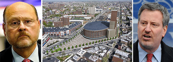 From left: Joe Lhota, a view of Atlantic Yards and Bill de Blasio