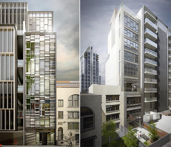 Renderings of the front and rear of 543 West 29th Street
