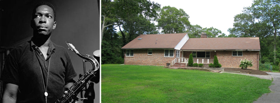From left, John Coltrane and his former Huntington home