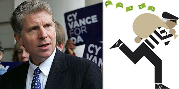 From left: Manhattan District Attorney Cyrus Vance and a thief