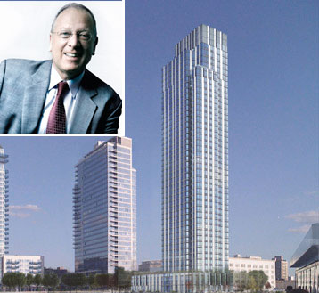 Jeffrey Levine (inset) and a rendering of 1 North 4th Street