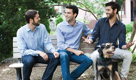 From left: Benjamin Miller, Daniel Miller, Max Kirschenbaum and Benjamin's dog Zappa