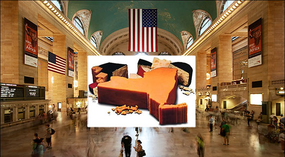 Grand Central Terminal and New York State cheese (inset)