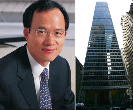 From left: Fosun's Guo Guangchang and 1 Chase Manhattan Plaza