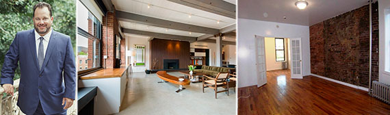 From left: TOWN's Andrew Heiberger, a $30,000 rental at 525 West 22nd Street in Chelsea and a $1,900 pad at 43 Clinton Street on the LES