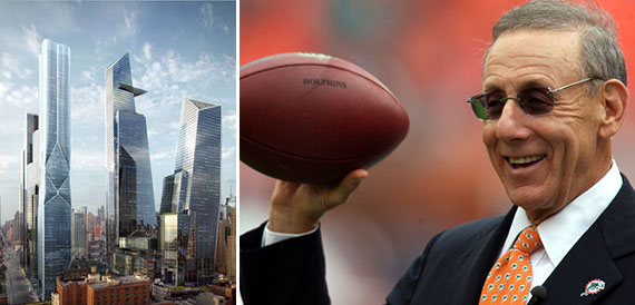 A rendering of Hudson Yards and Stephen Ross
