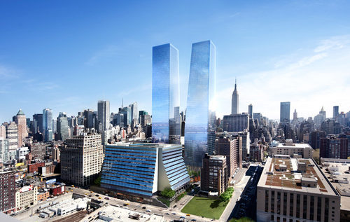 A rendering of Manhattan West (Credit: Curbed)
