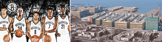 From left: Brook Lopez, Paul Pierce, Deron Williams, Joe Johnson, Kevin Garnett and a rendering of Industry City