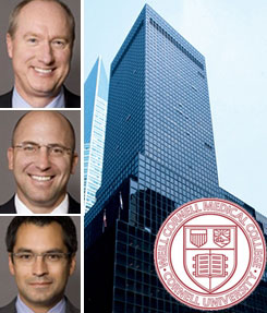 From left: Normandy managing principals Finn Wentworth (top), David Welsh (middle) and Jeff Gronning (bottom), 575 Lexington Avenue and the Weill College crest
