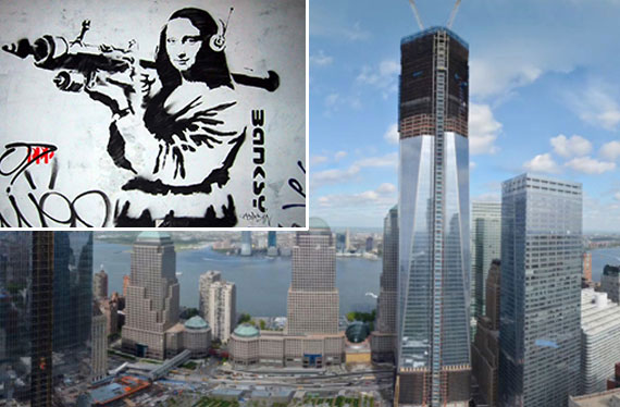 A Banksy mural and One World Trade Center (center)