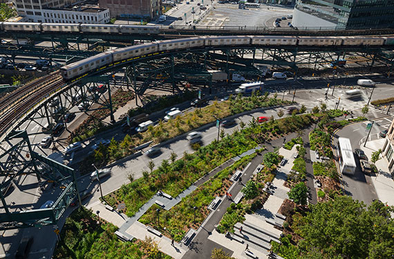 Aerial view of Queens Plaza
