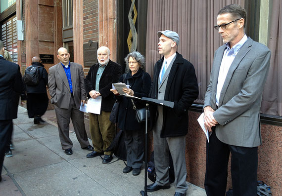 From left: Harvey Epstein, Michael McKee, Katy Bordonaro, Andrew Berman (speaking) and Robert Martin (Credit: GVHP)