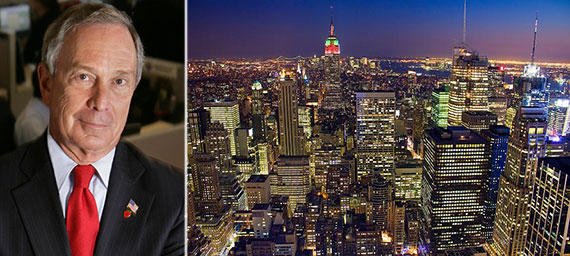 From left: Mayor Michael Bloomberg and the Manhattan skyline
