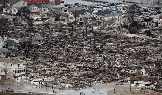 Aerial view of Sandy-damaged Breezy Point