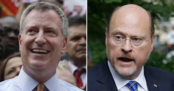 From left: Bill de Blasio and Joseph Lhota