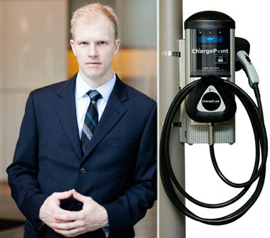 SL Green's Jay Black and an electric car charging station