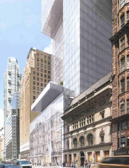 Rendering of the base of 217 West 57th Street