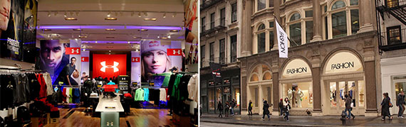 From left: An Under Armour pop-up store and 583 Broadway