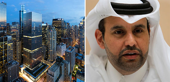 250 West 55th Street (center) and Sheikh Ahmed bin Jassim Al Thani, director general of Al Jazeera