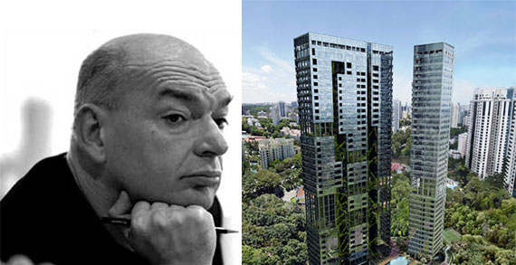 Jean Nouvel and a rendering of 18 Nouvel in Singapore