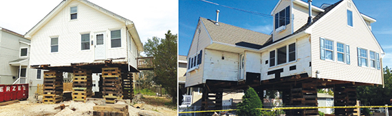 Two Long Beach Island homes that are being raised to protect against future floods