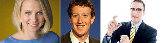 From left: Yahoo's Marissa Mayer, Facebook's Mark Zuckerberg and Seth Pinsky