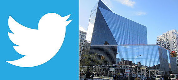 From left: Twitter logo and 51 Astor Place