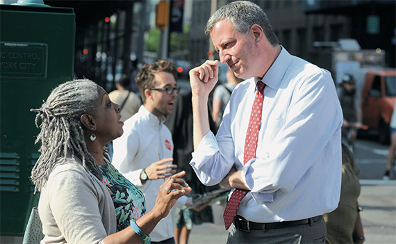 Bill de Blasio on the campaign trail