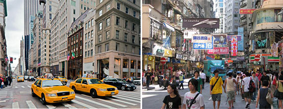 From left: Fifth Avenue in Manhattan and Causeway Bay in Hong Kong