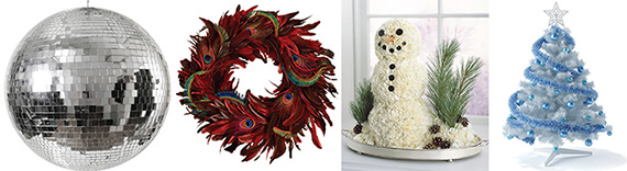From left: a disco ball, a feather wreath, a carnation snowman and a Hanukkah tree