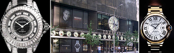 From left: Chanel watch, Tourneau's 12 East 57th Street store and a Cartier watch