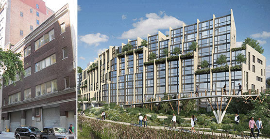 From left: 122-130 East 23rd Street and rendering of Pierhouse 1 at Brooklyn Bridge Park
