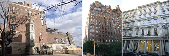From left: 21 Beekman Place, 720 Park Avenue and 144 Duane Street
