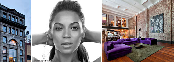 Beyonce and the interior and exterior of 214 Lafayette Street (Credit: StreetEasy)