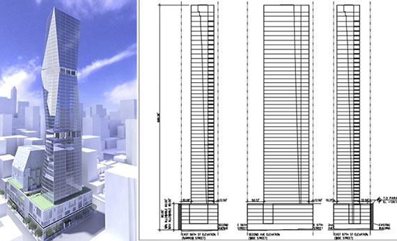 From left: 250 East 57th Street's old design and diagrams of the new plan