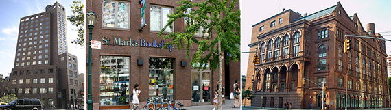 From left: 29 3rd Avenue, St. Mark's Bookshop and Cooper Union at 30 Cooper Square
