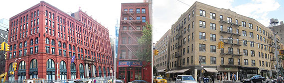 From left: 295 Lafayette Street, 9 Great Jones Street and 265 Lafayette Street
