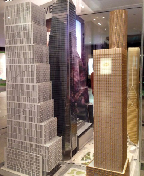 From left: 50 and 55 Hudson Yards