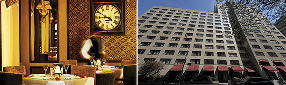 From left: The restaurant at 540 Park Avenue pre-renovations and the hotel's exterior