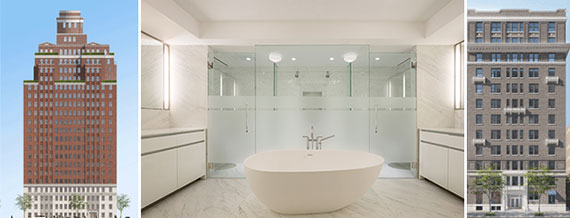 From left: 737 Park Avenue, a penthouse bathroom in 737 Park and 150 East 72nd Street