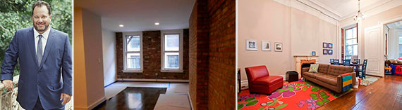 From left: Andrew Heiberger, a $2,300 studio at 175 Ludlow Street and a $6,500 three-bedroom at 118 East 18th Street