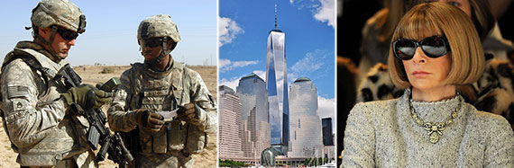 From left: U.S. Army soldiers, One World Trade Center and Vogue EIC Anna Wintour