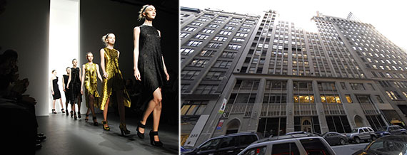 From left: Calvin Klein creations on the runway and 205-223 West 39th Street