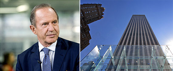 From left: Mort Zuckerman and the GM building, at 767 Fifth Avenue